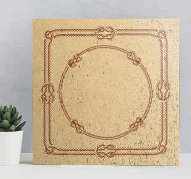 Nautisk lerretstrykk som har et bilde av en firkant og en sirkel som er laget med tau og bundet med tradisjonelle sjømannsknuter.