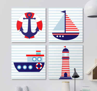 Nautische elementen canvas schilder met vier unieke afbeeldingen die te maken hebben met de zee. +10. 000 tevreden klanten. Hoogwaardige materialen.
