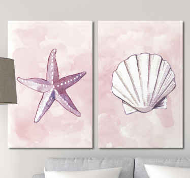 Wonderful nautical canvas print of seashells and starfish, it can be put in any room of your home. Order it now! Home delivery!