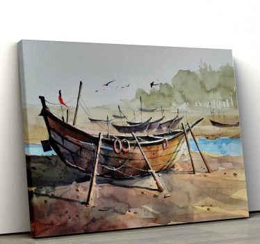 Este cuadro marinero con barca en la arena se puede colocar en cualquier habitación de una casa ¡Elige las medidas que prefieras!