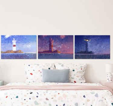 Esta cuadro marinero con tres faros en día, atardecer y noche se puede colocar en cualquier estancia del hogar ¡Compra online ahora!