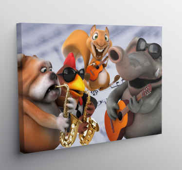Canvas print with animals and instruments. Perfect decoration for kids room. Easy to hang and made of high quality materials.