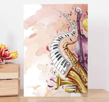 Lovely watercolor musical instruments canvas art to transform your space with an original and modern look. Printed in high quality finish.