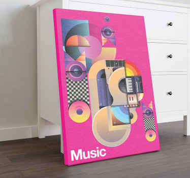 An amazing colorful music motif canvas for music lovers.  This canvas can be decorated on any space in the home, it is printed in high quality finish.