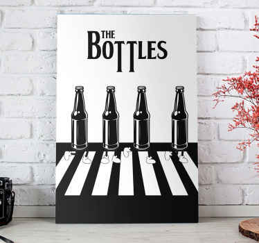 With this printing of bottles crossing a pedestrian passage in black and white  will give a unique style to your room! Home delivery!