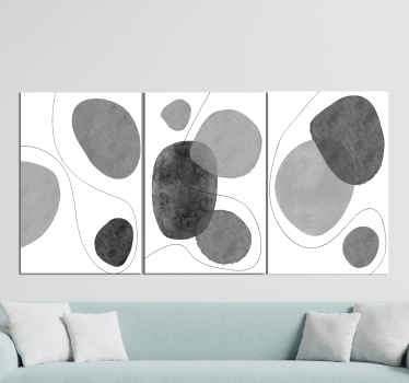 Nordic canvas print which features a pattern of greyscale abstract shapes surrounded by lines. Sign up for 10% off. High quality.
