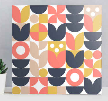 Geometric canvas print which features a stunning abstract pattern of unique shapes including circles, semi circles and squares.