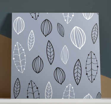 Nordic canvas print which features a lovely pattern of leaves all with intricately drawn patterns. High quality materials.