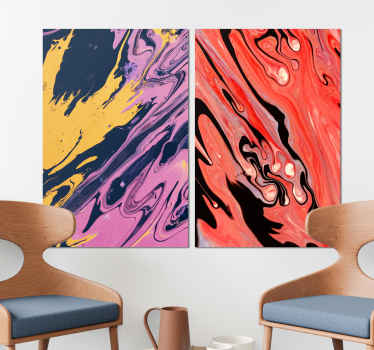 Colorful abstract modern canvas wall art with it composition in two canvases of 40x60cm. The canvas is easy to hang on wall since it is really light.
