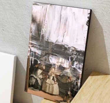 Moderner rahmen leinwandwandkunst mit entwurf von hübschen kleinen mädchen auf kleidern, die auf einem alten bildhintergrund stehen. Original und langlebig.