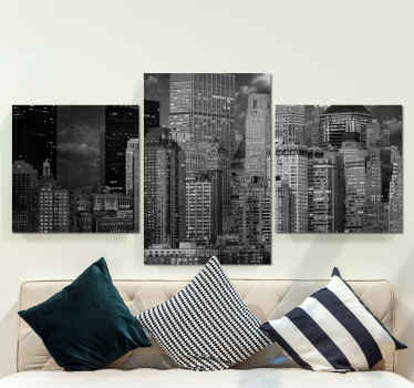 Imagine the look you would be presenting on your living room with this  black and white city view modern canvas wall art. Printed in quality finish.