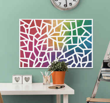 A mosaic canvas print featuring all the colours of the rainbow just for you! Sign up on our website for 10% off your first order.