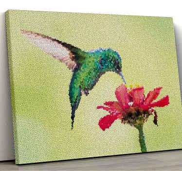 Wenn Sie den look ihres raums erneuern möchten, sind unsere farbenfrohen vogelmosaik-leinwanddrucke eine großartige idee für einen verwandelnden look.