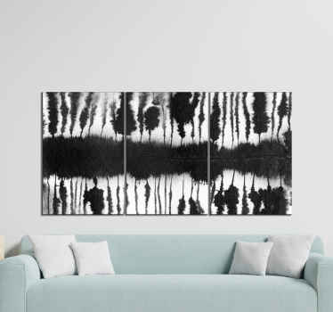 Simple and calm abstract black and white strokes canvas art. Suitable to decorate a living room, office, bathroom, bedroom, etc.