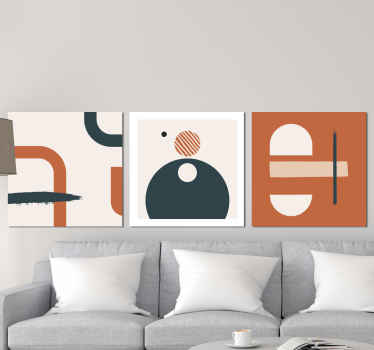.An abstract canvas wall art with design of different geometric figures. The canvas is printed in high quality finish, UV and fade resistant.