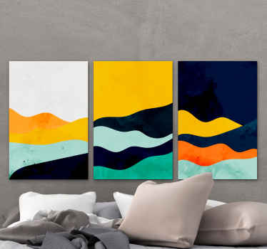 A triptych abstract canvas wall art with many different colors to decorate your walls and give your house an original and fantastic look.
