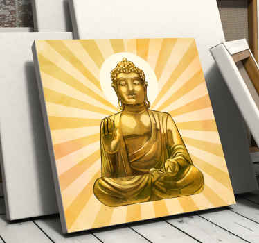 Golden buddha canvas wall art for spiritual mind and enthusiast of buddha meditation.  It is printed with high quality finish.
