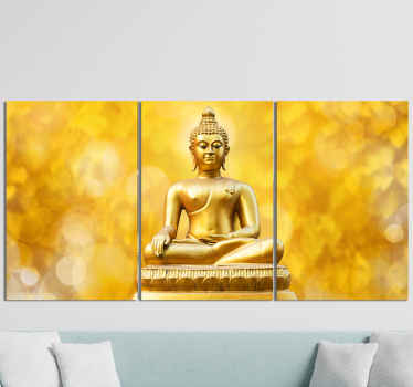 Beautiful golden triptico buda meditation painting for the every room. This golden canvas print for the home can also be placed in other spaces.