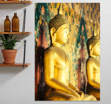 Amazing golden design of an canvas with buda perfil. Immerse yourself in the ancient budda tempel and have this amazing canvas in your room.