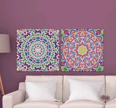 Mandala canvas print which features two unique canvas prints each decorated with a beautifully bright pattern. High quality.