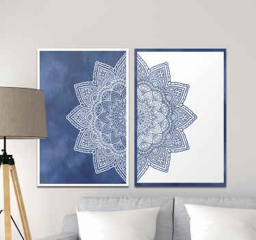 Mandala canvas print which features a beautiful mandala star spread across two canvases. Worldwide delivery available now.