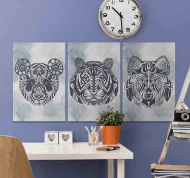 Mandala canvas print which features 3 different canvas prints all with unique animal faces in a mandala pattern. Sign up for 10% off.