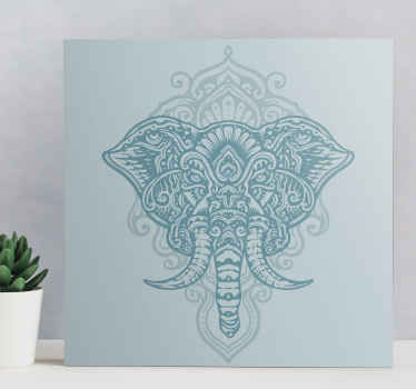 Mandala canvas print which features a beautiful image of an elephant decorated with a floral, mandala design. Discounts available.