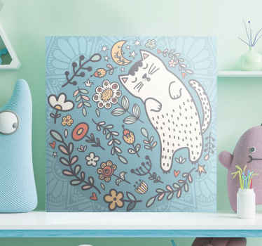 Nursery canvas print which features a wonderful circle of flowers and leaves and a big cat sleeping. Worldwide delivery.