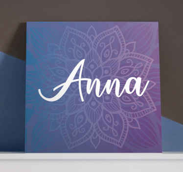 Custom canvas print which features a stunning mandala pattern with the option to add your name in front. Easy to apply. Custom made.