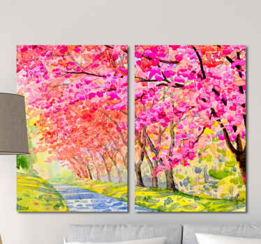 Landscape canvas print which  features an image of a path through a park surrounded by stunning cherry blossom trees. +10,000 satisfied customers.
