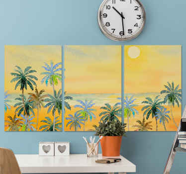 Beautiful scenery landscape canvas wall art. The canvas design is an illustration of a beautiful sea view with beach palms trees and sunset.