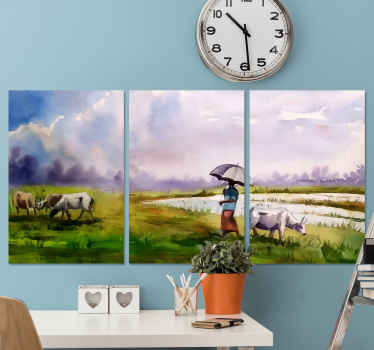 Natural landscape canvas painting depicting a rural nomad man taking his animal on grazing in the field. The design is printed in high quality finish.