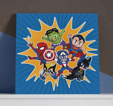 Canvas print with superheroes. It presents different superheroes on a blue retro background. Easy to hang and clean. Made of high quality material.