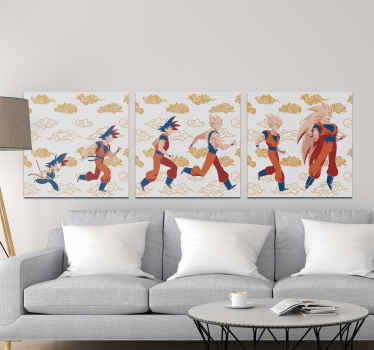 Canvas print with Dragon Ball. It is made of high quality materials. The pattern shows different characters featuring in the show.