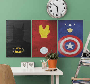 Canvas print with superheroes. It shows logos of different superheroes such as Baatman, Captain America and others. You can hung it easily.