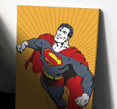 Canvas print with a superman. It presents the superhero on a yellow retro background. Easy to hang. Made of high quality materials.