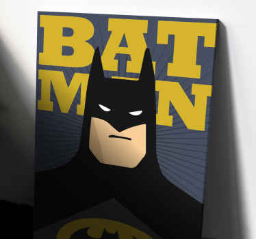 "Canvas print with Batman. It shows Batman's bust in black outfit and a text ""Batman"". Made of high quality materials. Check it out!"