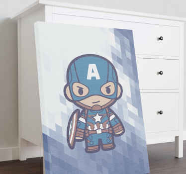 Canvas print with Captain America. This is a great idea if your kid enjoys superhero stories. Order now ! Home delivery !