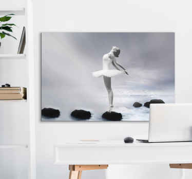 Canvas print with a balerina, made of high quality materials. The pattern presents a dancing balerina on a black and white background.
