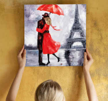 Canvas print with a couple kissing in the rain. Easy to hang on the wall. Made of the best quality materials. Check it out!