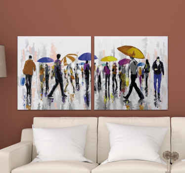 Canvas print with people in rain. The pattern shows a crowd with colorful umbrellas. Made of high quality materials. Check it out!