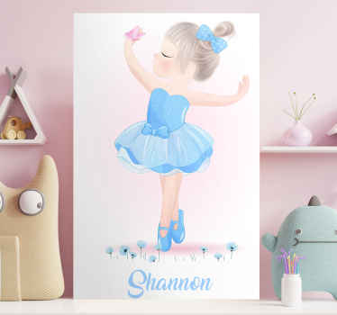 This amazing customizable wall art canvas will look amazing in your little girls nursery! It features a cute blue cartoon dancer.