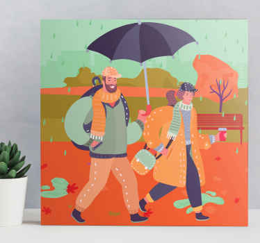Lovely 3D canvas wall art with illustration design of lovers in the rain with an umbrella. It is printed in high quality finish and durable.