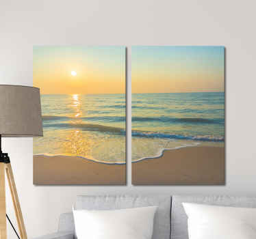 An original and lovely canvas wall art print with an amazing view of the beach with sunset.  The canvas is printed in high quality finish.