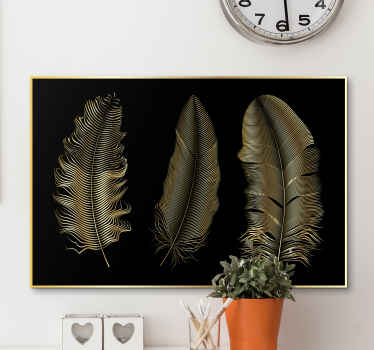 Give your home some touch of personality with this simple but elegant golden feather on black background canvas print. Easy to maintain.