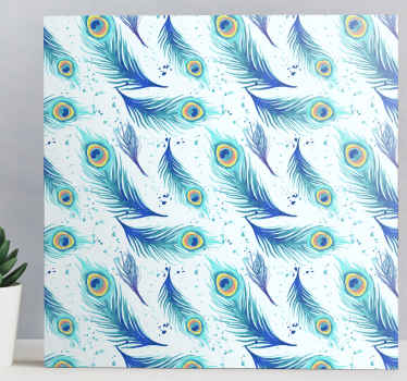 Canvas print with peacock feathers. The patternshows many peacock feathers on a white background. Made of high quality vinyl.