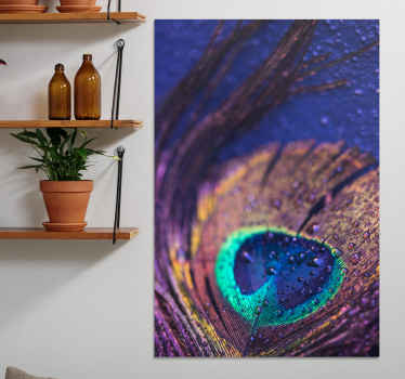 A wonderful peacock feather canvas wall print to brighten up your home! Extremely long-lasting material that is easily cleaned.