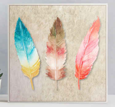 An awesome modern looking watercolour feather canvas wall print that you will love. Discounts available when you sign up today.
