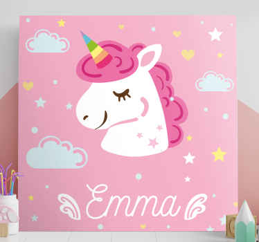 Cute animal canvas art ideal for children.  Contains design illustrating the head of a unicorn with stars, clouds and heart shapes with pink background