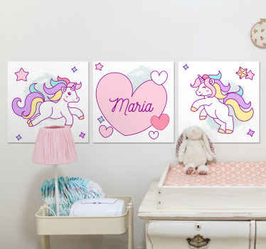 This cute unicorn illustration canvas art can be decorated on any space in the home.  it is original, durable and printed in high quality finish.